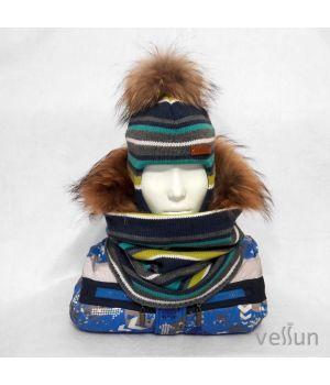 Комплект Ритм шапка шлем и снуд
