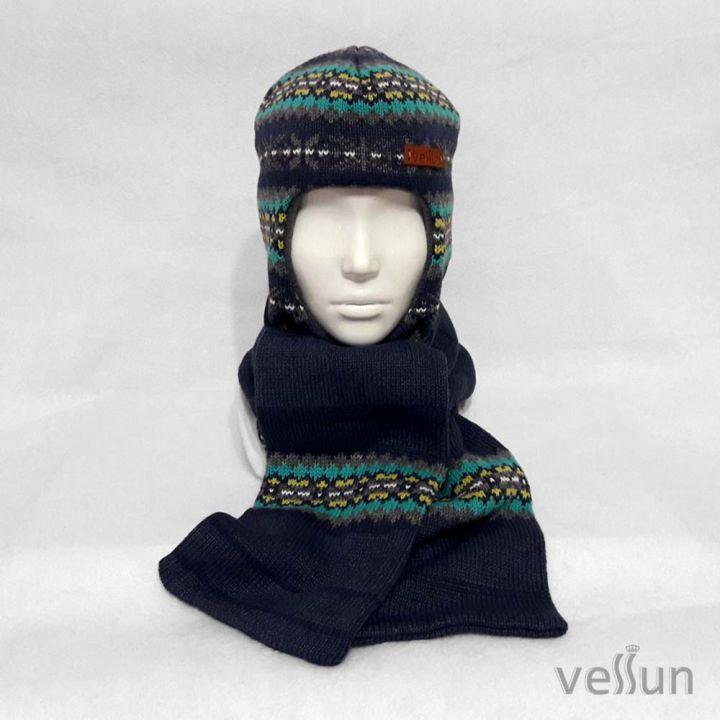Комплект шапка шлем и шарф для мальчика или девочки