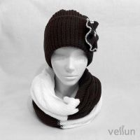 Комплект вязаный шапка и снуд-шарф Весна