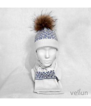 Комплект Геометрия шапка на завязках и шарф