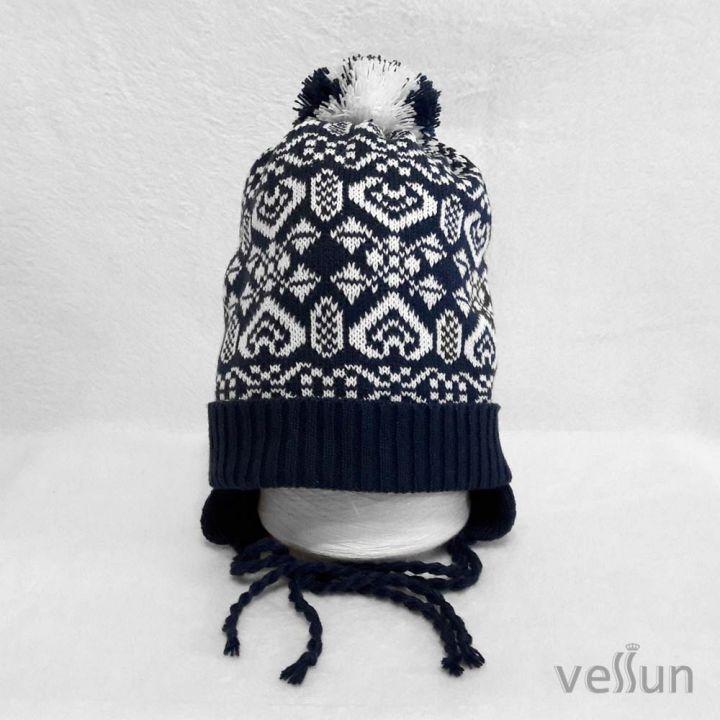 Купить шапку на завязках с рисунком