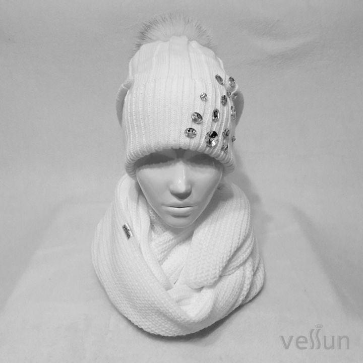 Комплект  женский «Кокетка» шапка и снуд